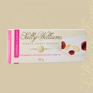 A box of 24 bars of Sally Williams Cranberry & Almond Nougat. Gourmet nougat from a true culinary genius.