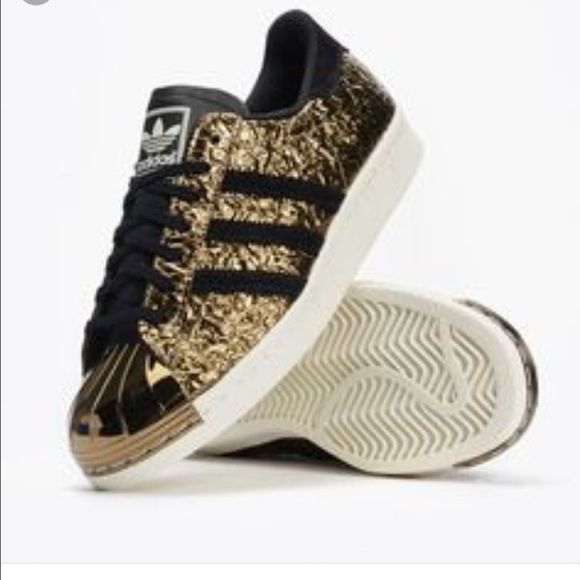 Adidas Women Shoes - Adidas gold and black plated toe New with tags no box  left shoe very tiny nick on metal toe hardly noticeable. Adidas Shoes  Sneakers ...