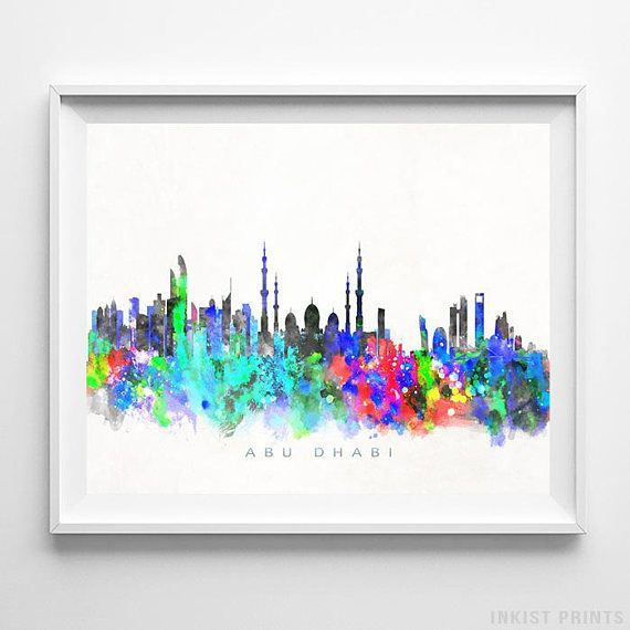 Abu Dhabi, UAE Watercolor Skyline Wall Art Poster - Prices from $9.95 - Click Photo for Details - #skyline #watercolor #cityscape #wallartposter #AbuDhabi #UAE