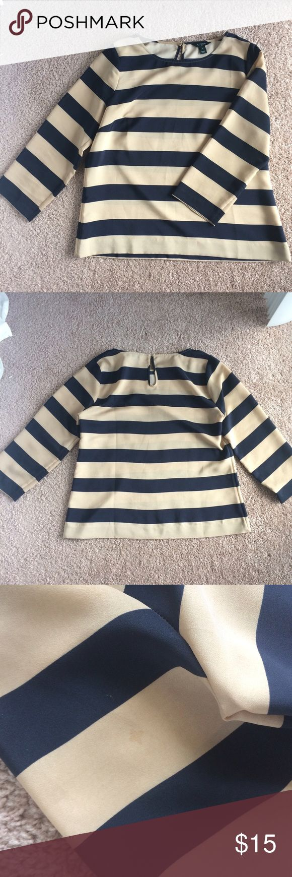 J Crew Navy/Tan Striped Blouse J Crew Navy/Tan Striped Blouse - Very good condition with one small stain on back of sleeve (see photo) - 100% Polyester J. Crew Tops Blouses