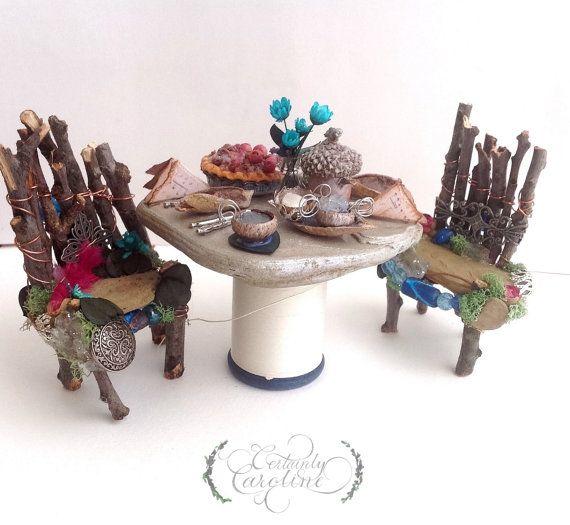 Two Twig Chairs, Tea Party for Two // Miniature woodland fairy tea party, fairy furniture, acorn tea set, fairy garden tea party