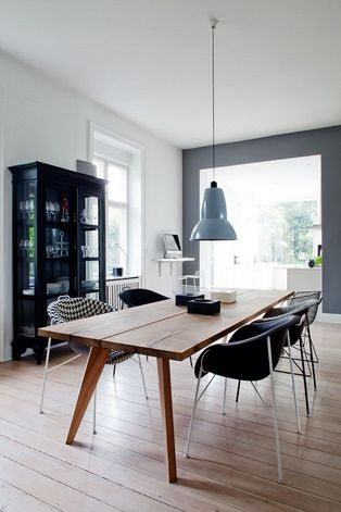 dining table, pendant lighting, mixed chairs