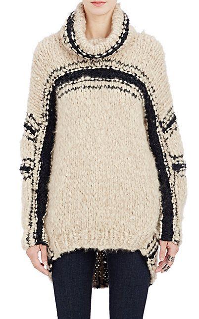 Spencer Vladimir Bouclé-Striped Oversized Cocoon Sweater - Turtleneck…