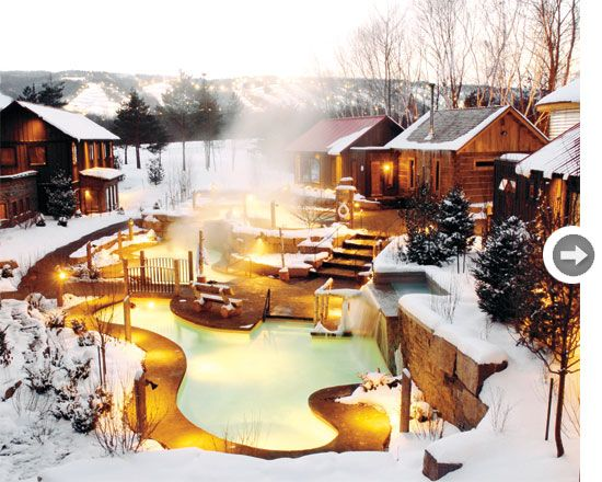 The spa features outdoor hot baths, Nordic plunge pools, a Finnish sauna, eucalyptus steam room and indoor quiet rooms.