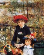 Two Sisters Aka On The Terrace  by Pierre Auguste Renoir