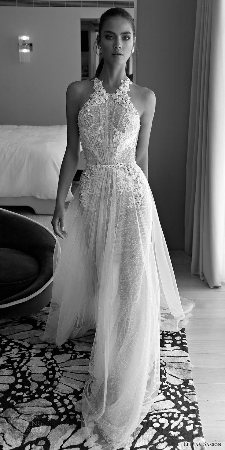 elihav sasson spring 2018 halter embellished ruched bodice lace sheath a line wedding dress (vj 016) mv sheer back glam -- Elihav Sasson 2018 Wedding Dresses