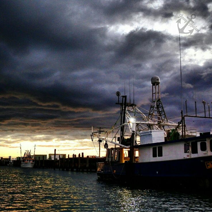 Trawler ocean fishing sea clouds sunrise harbour photography