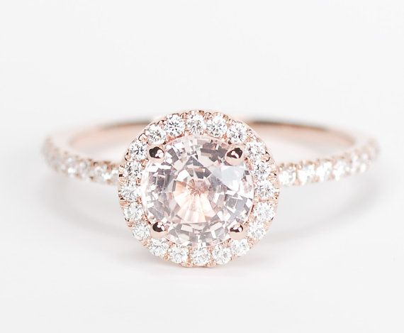 Peach Pink Champagne Round Sapphire. I do love the 3 piece above more but the color of this is Flawless ~MS