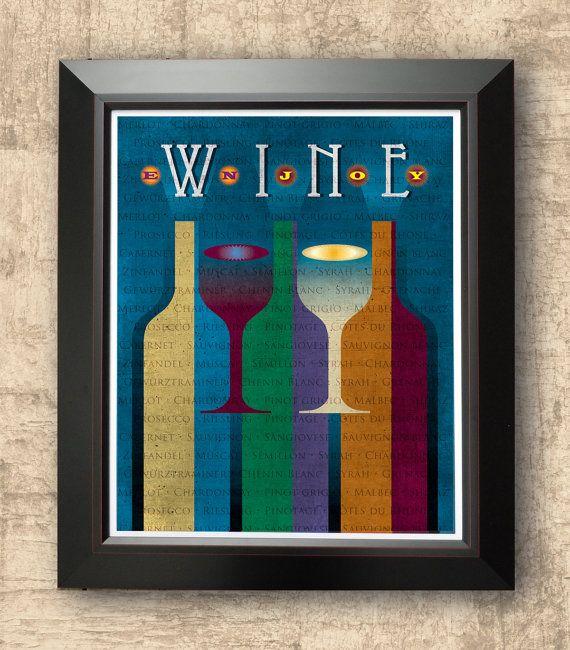 Enjoy wine wine poster typographic print by inspiredartdesign