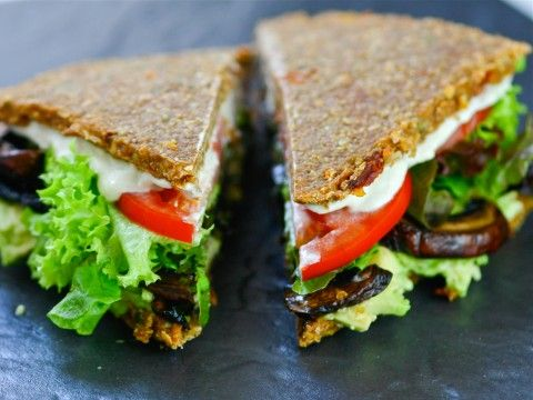 Raw, Vegan Mediterranean Buckwheat Bread - and trust me when I tell you that Russell James has top-notch recipes. I've actually tried this recipe before, but I recommend you all try it. BTW, no need for a dehydrator if your oven can be set that low...
