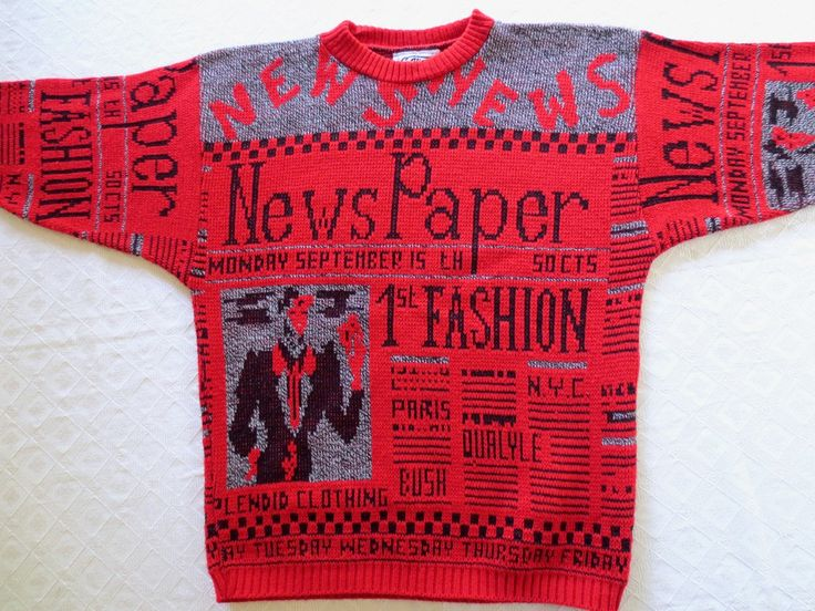 Retro 80s red sweater, Bush Quayle sweater, Newspaper fashion, Paris fashion, ugly sweater, 1988 presidential election, Jackpot Jen by JackpotJen on Etsy