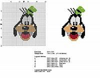 Disney Goofy face in 40 stitches baby bib cross stitch pattern