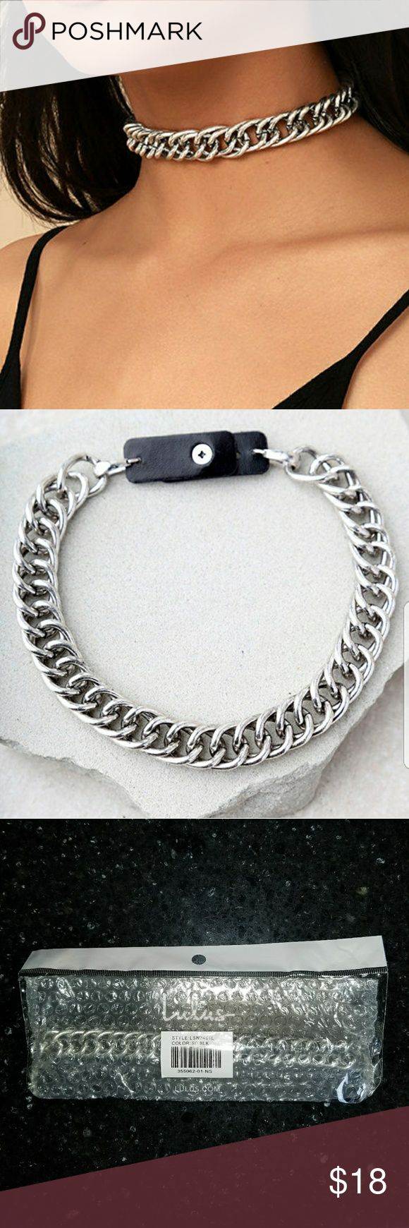 "Chain letter choker Chunky silver chain shapes edgy choker with a tough girl vibe. Necklace measures 11"" with three hole punch adjustments.  All vegan friendly, man made materials. Jewelry Necklaces"