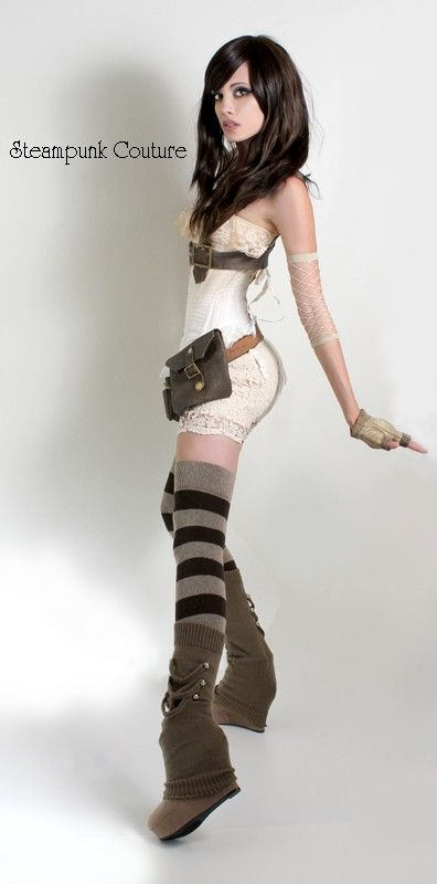 Steampunk, could diy that over the shoes; high socks, closedwedged, legwarmers with decoration