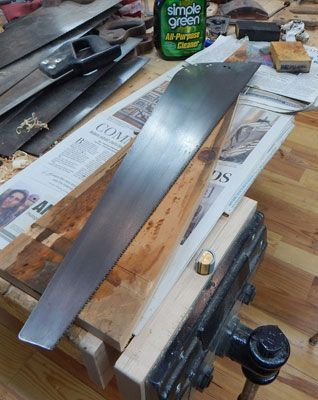 Restoring a Diston Hand Saw  -  How to make your tools last many lifetimes  -  There are lots of great resources out there on how to restore and sharpen hand saws.  It doesn't take a degree in saw doctoring or fancy jigs or tools. Part of the procrastination on saw care is the excuse that saw work is too complicated.  It is not rocket science.  Just use common sense care!
