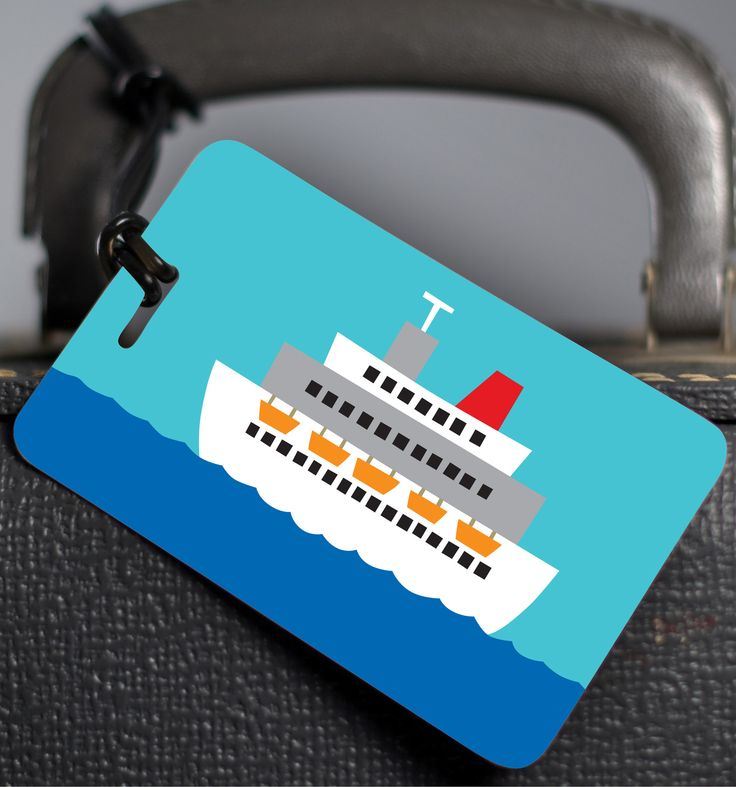 Whether you are cruising to Alaska or Antigua this luggage tag will look fabulous on your bag. Luggage tags are 2.5″ × 4″. Made out of plastic with a black loop. Back of tag has room to write personal