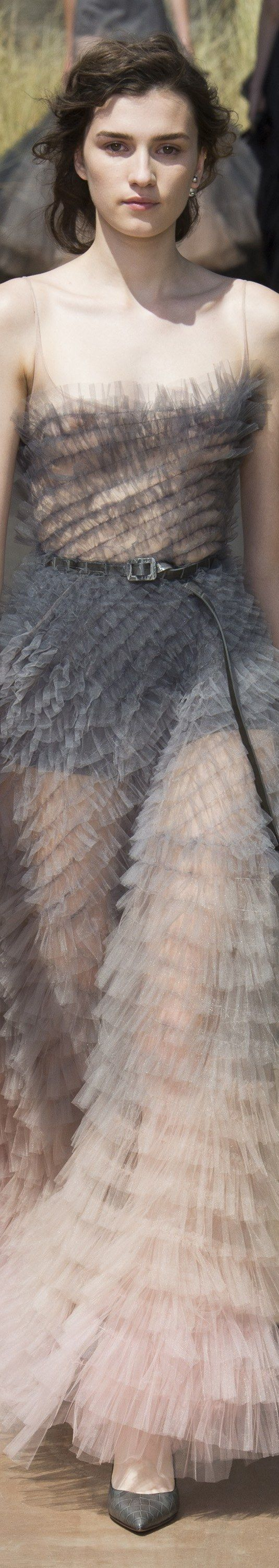 Christian Dior - Fall 2017 Couture - Runway photo of grey feather dress ~ The grey feathers changing to pink are very avant grade!!! But I don't think I am much of a feather person
