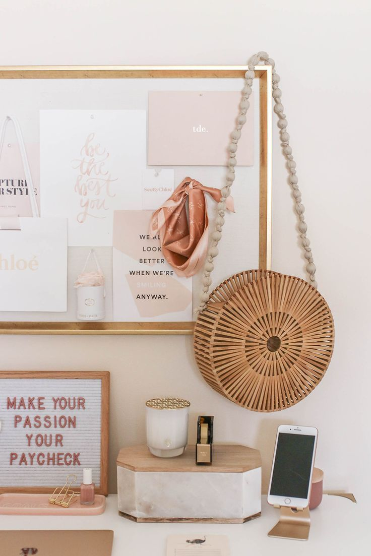 Dusty Rose And Gold Office Tour