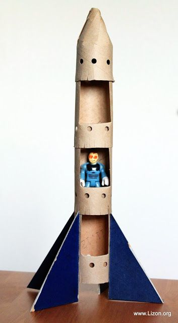 Go to space with this rocket ship craft made from recycled materials.: Rocket Craft, Toilet Paper Roll, Cardboard Tube, Kid