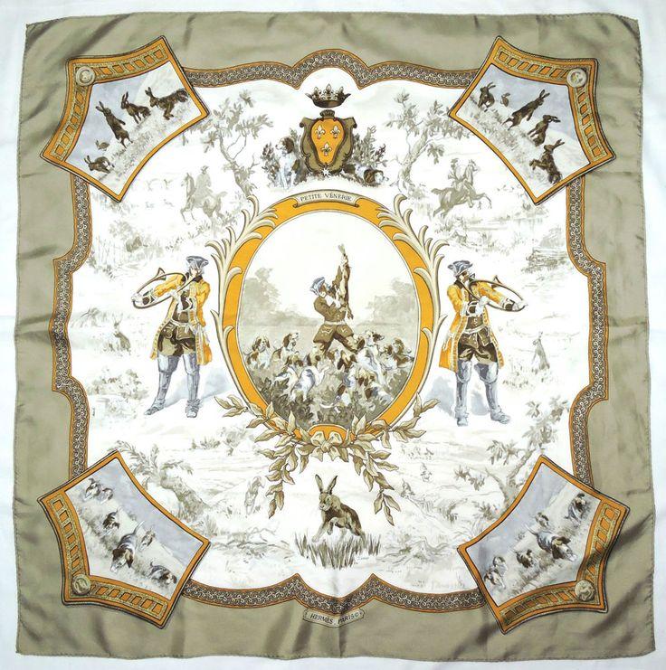 RARE Vintage 1968 HERMES Paris PETITE VENERIE Beige HALLO Hunting Silk Scarf #Hermes #Scarf #Luxury