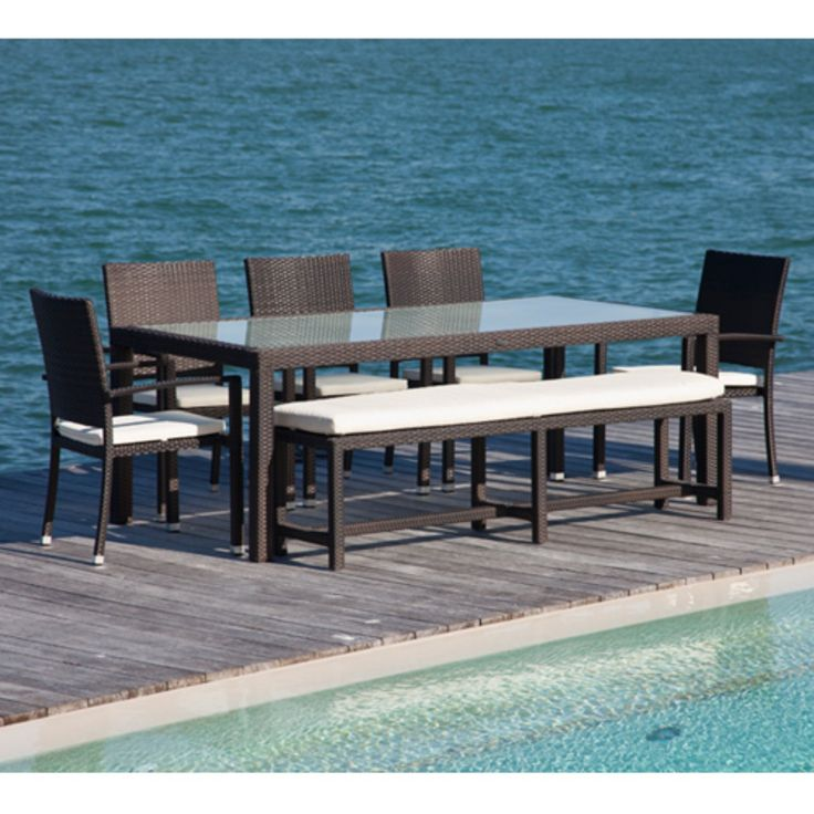 Source Outdoor Zen All Weather Wicker Patio Dining Set With Bench   Seats 8