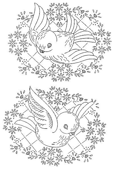 Birds Flying Vintage embroidery, applique, stencil, paint Transfer Pattern for download