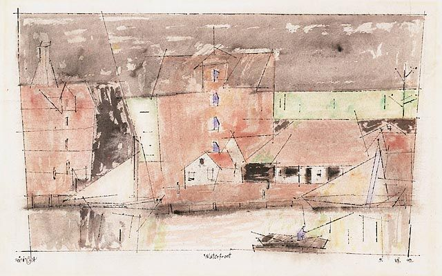 Lyonel Feininger - Waterfront, 1942 | Watercolor and black ink | 11 1/2 x 18 in.