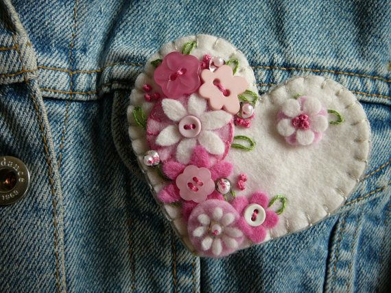 felt heart pink buttons and flowers