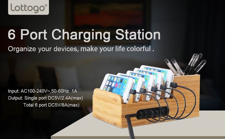 Amazon.com: Lottogo Charging Station with 6-port 40W USB Charger Desktop Organizer and Smart IC Tech Fast Charge for iPhone 7 / 6s / Plus iPad Sony PS4 Bluetooth Speakers Kindle: Cell Phones & Accessories