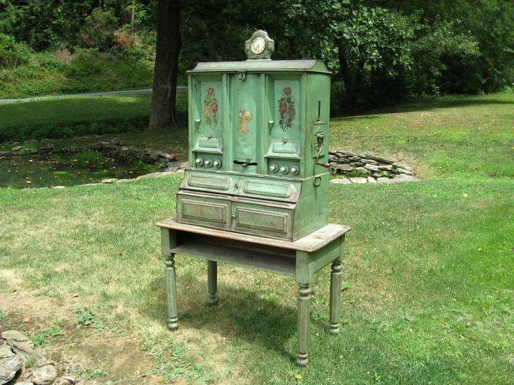 folk art metal hoosier kitchen spice pantry cabinet with farm table