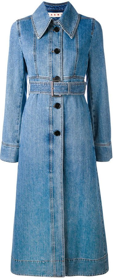 Marni belted denim trench coat