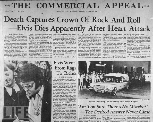 A newspaper reports the Aug. 16, 1977, death of Elvis Presley, apparently of a heart attack brought on by years of painkiller abuse. He was 42.
