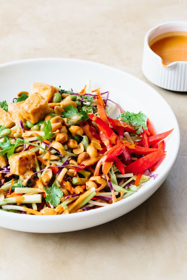 Tofu and Broccoli Salad with Peanut Butter Dressing