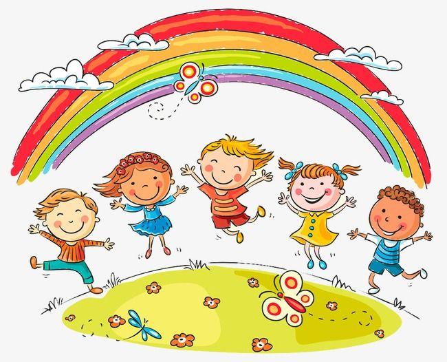 Rainbow Children And Cartoon, Children Clipart, Cartoon Clipart ...