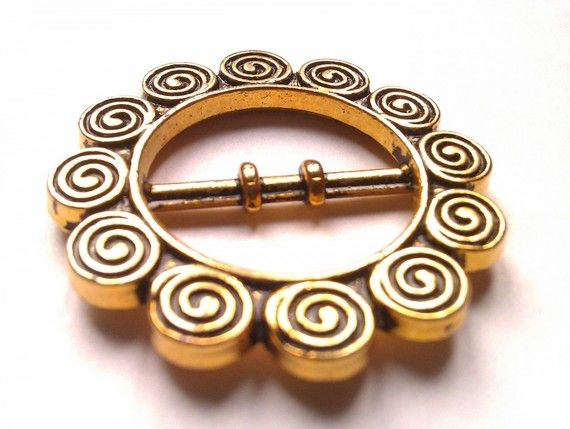 2 boucles de ceinture en métal  doré ronde à spirales  35mm