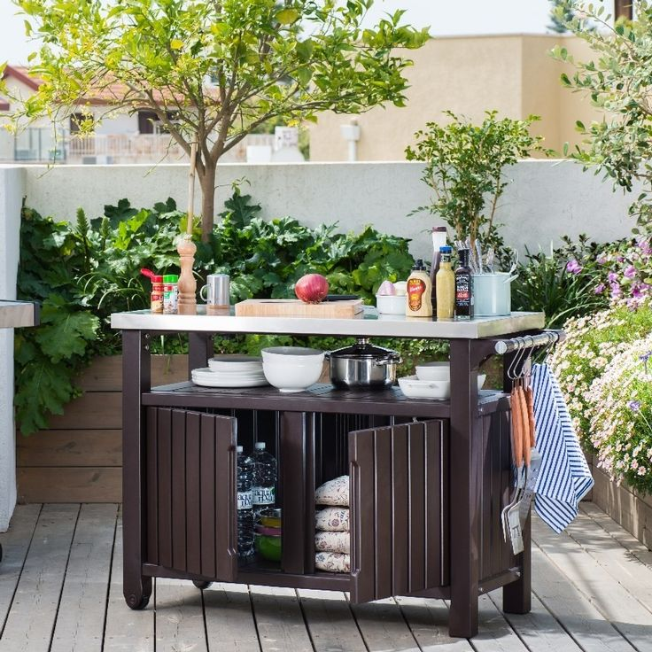 Outdoor Kitchen Prep Table With Storage