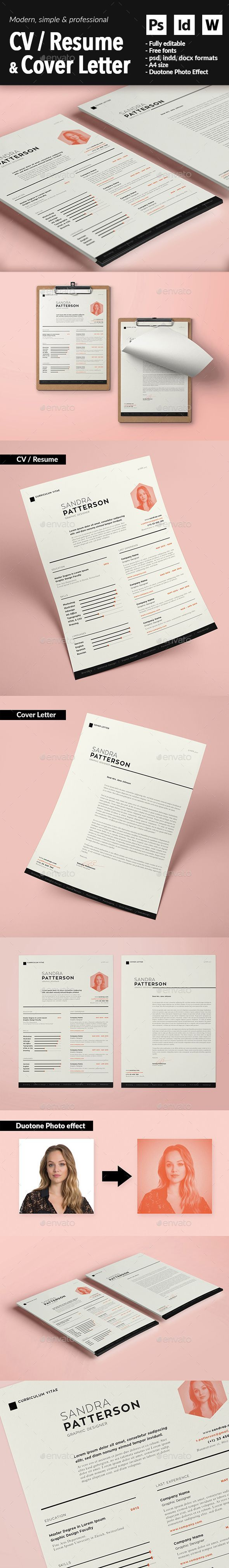 CV / Resume & Cover Letter Template PSD, InDesign INDD, MS Word