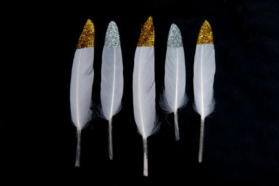 Gold + Silver Glitter Tipped White Goose Craft Feathers 11-15cm Wedding Hand Dipped UK Seller