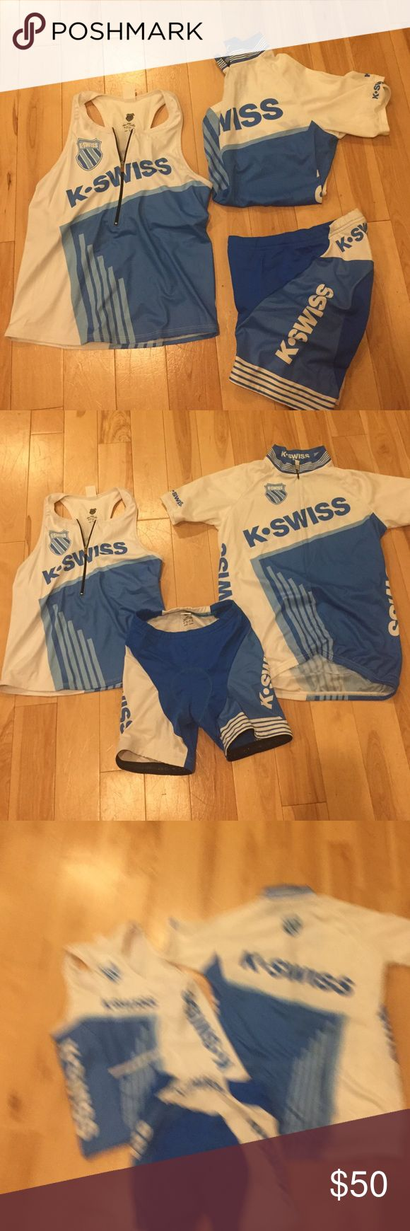 K-Swiss Full Triathlon Kit sz S Tri top and Tri shorts sz Small, cycling jersey size medium. Brand new, excellent condition. K-Swiss Tops