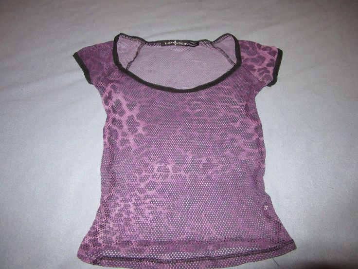 "LIP SERVICE Fash-Ist Fishnet... Printed! ""Smokin' In The Boys Room"" short sleeve top #48-36-P"