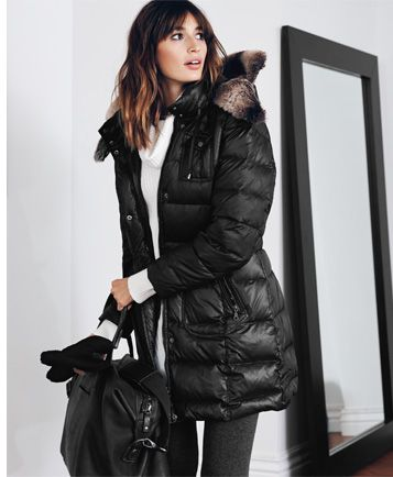 Home Is Where The Heart Is -puffer down-filled jacket in black with faux fur