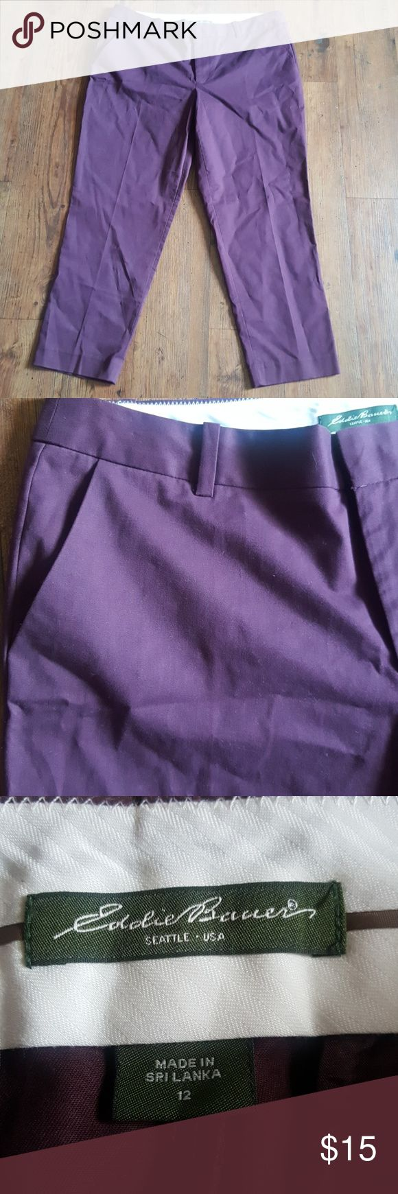 Eddie Bauer Burgandy Pants Dont let the pictures fool you.  Burgandy colored pants by Eddie Bauer size 12.  Two side and two back pockets.  Straight leg, no fading.  Inseam 24.5 inches. Eddie Bauer Pants Straight Leg