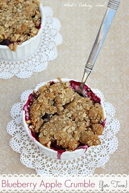 Blueberry Apple Crumble for Two.  A delicious blueberry apple crumble made in two servings.  This would be great for dessert for two or if you only want individual servings.  #blueberry #apple #crumble.