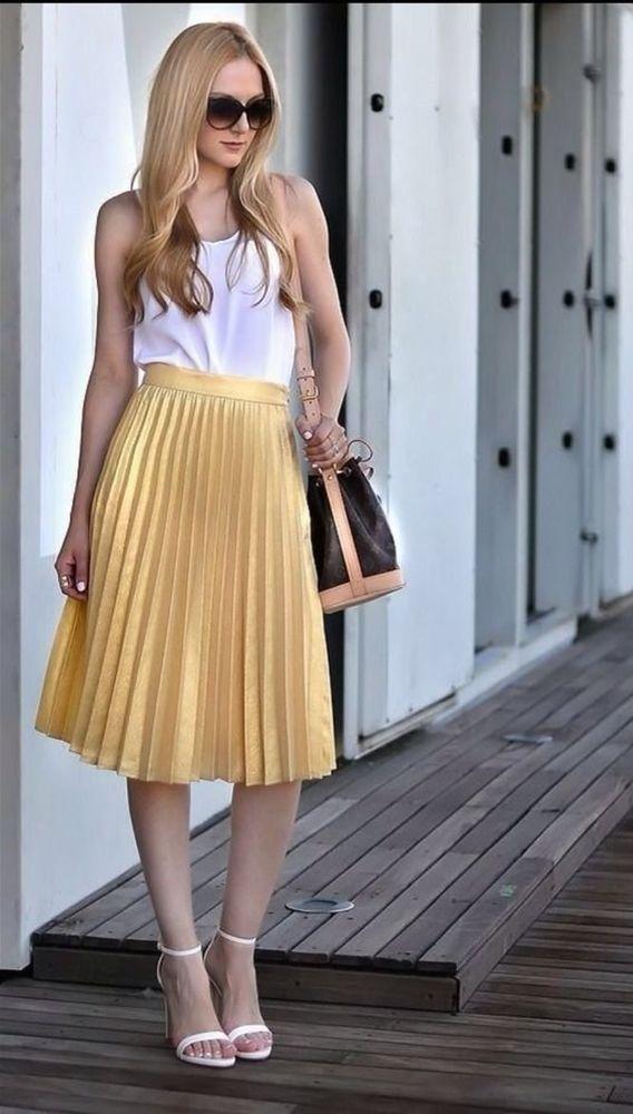 nwt zara gold pleated skirt fav ss14 golden size