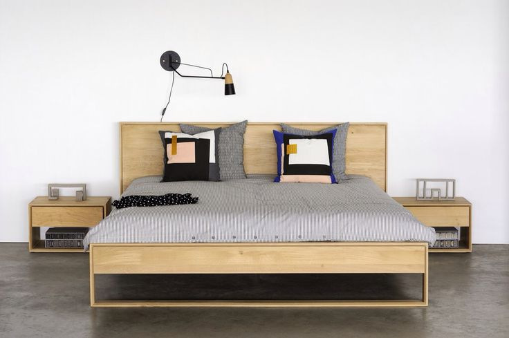 Oak Nordic Bedroom by #Ethnicraft Fragment cushions by #fermliving  #design #bed