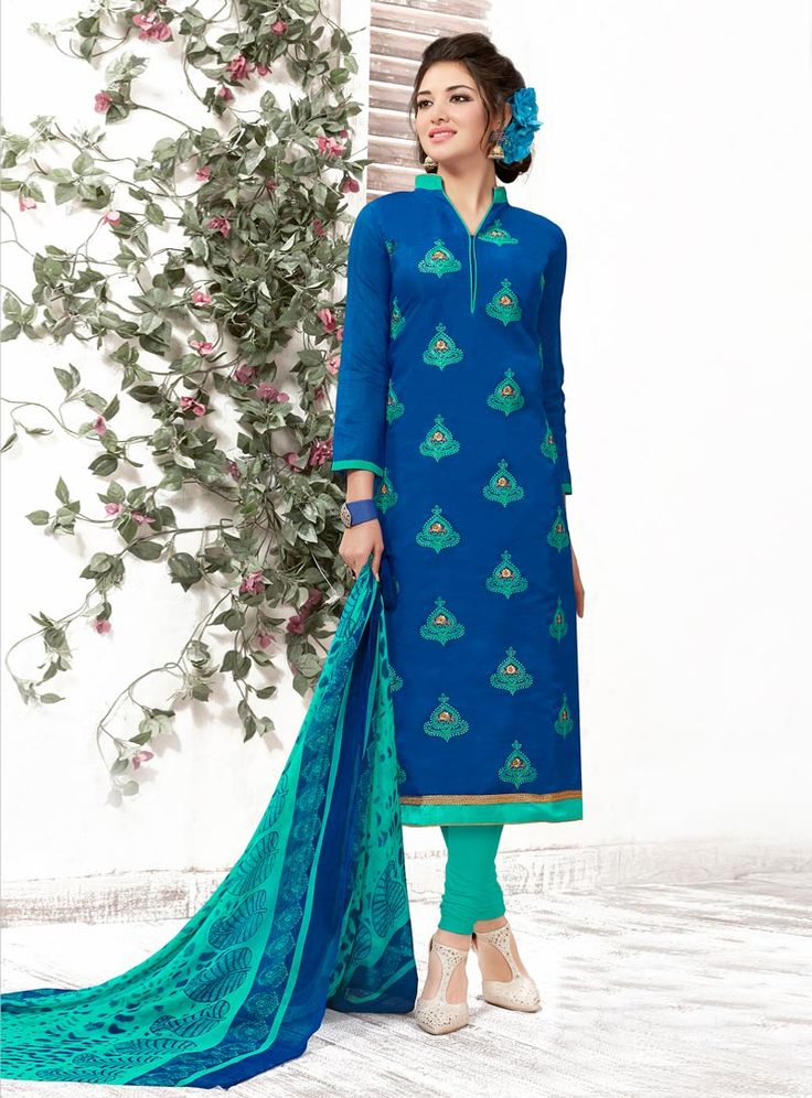 Blue Chanderi Churidar Suit 79723