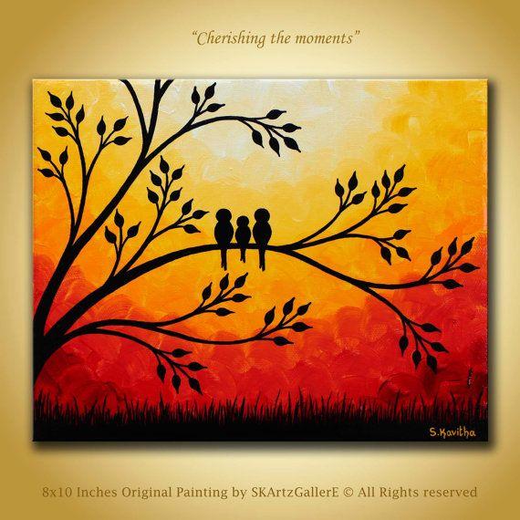 Family birds Artwork Original Painting 8x10 canvas art, Bird painting, Family birds painting, Home decor, Interiordesign ideas, Modern art, Birds on tree, Contemporary art, Sunset landscape, Modern art, New baby gift idea by SKArtzGallerE