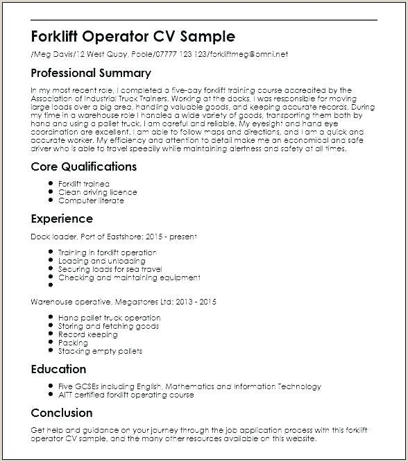 Forklift Driver Resume In 2020 Resume Resume Examples Resume Template