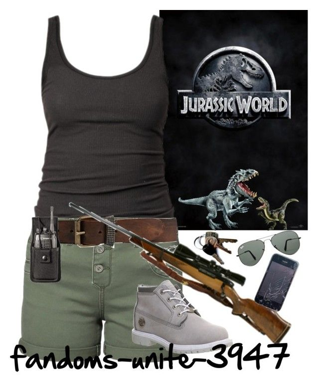 """Jurassic World"" by fandoms-unite-3947 ❤ liked on Polyvore featuring James Perse, ONLY, Dinosaurs, RIFLE, Timberland and Ray-Ban"
