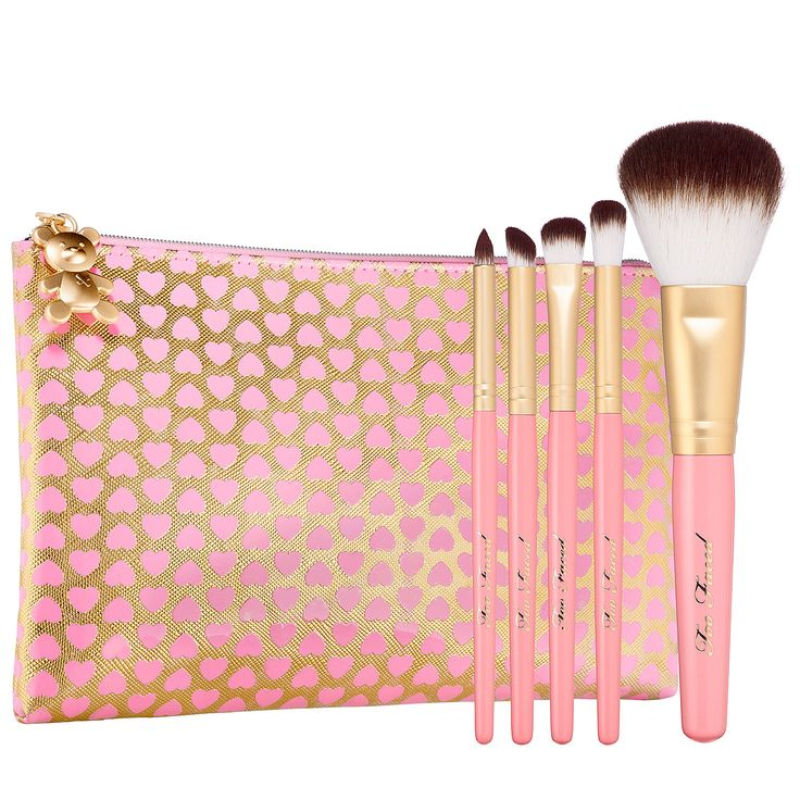 What it is: An all-in-one, portable brush set that features the five essential brushes you need to achieve any look, plus a heart-print cosmetic bag.  What it does: This perfectly edited set offers all you need to create any look. The synthetic hai